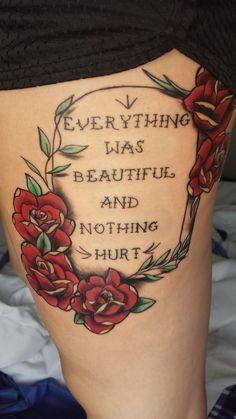 Kurt Vonnegut thigh piece by Carmen at Painted Lady Tattoo in Higginsville, MO - Imgur
