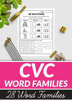Word Family Worksheets distance learning packets for kindergarten 1st Grade Activities, Word Work Activities, Kindergarten Worksheets, Classroom Activities, Interactive Activities, Easter Activities, Aw Words, Cvc Word Families, Family Worksheet