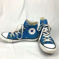 4b43408687a6 Converse Blue Classic High Top Canvas Chucks Sneakers Size 7 Shoes  #Converse #AllStars #