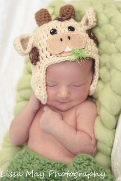 Crochet bebé niño o niña la vaca de sombrero por encargo a