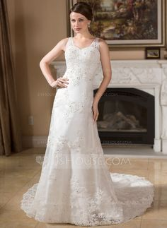 Wedding Dresses - $224.99 - A-Line/Princess V-neck Chapel Train Organza Satin Wedding Dress With Lace Beadwork (002000383) http://jjshouse.com/A-Line-Princess-V-Neck-Chapel-Train-Organza-Satin-Wedding-Dress-With-Lace-Beadwork-002000383-g383