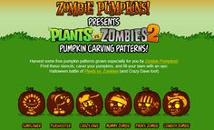 Thanks toZombie Pumpkins!, Fundead Legionnaires can turn their ordinary pumpkins into the coolest jack-o-lanterns around featuringPlants vs. Zombies2 characters! Print your carving templates for FREE here ::http://bit.ly/16gQHlCPrepare your home for the onslaught of trick-or-treaters and carve some awesome Plants vs. Zombies pumpkins!Happy Halloween!