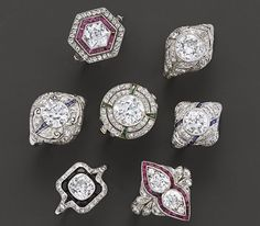 Fred Leighton Art Deco and Edwardian diamond engagement rings, some with rubies or sapphires.