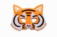 TIGER Felt Mask - Jungle animal costume - Kid's adult's mask - dress up - party mask - pretend play accessory Animal Costumes, Adult Costumes, Savage Animals, Kids Dress Up, Play Dress, Cardboard Mask, Animal Dress Up, Tiger Costume, Tiger Mask