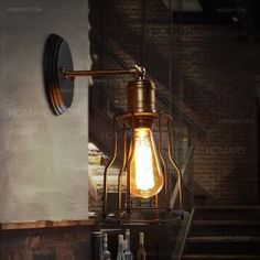 Industrial Loft Matte Black Single Vintage Edison Light Bulb Wall Sconce with Open Cage