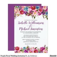 Purple Floral Wedding Invitation Template