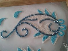 This Pin was discovered by F Pearl Embroidery, Tambour Embroidery, Hand Work Embroidery, Hand Embroidery Patterns, Floral Embroidery, Embroidery Stitches, Machine Embroidery, Embroidery Designs, Tambour Beading