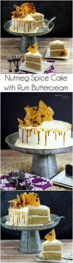 Nutmeg Spice Cake with Rum Buttercream, Caramel Sauce, and Cinnamon Toffee. It's a great cake that can be made in 2 hours for any occasion.