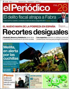 Los Titulares y Portadas de Noticias Destacadas Españolas del 26 de Noviembre de 2013 del Diario El Periódico ¿Que le pareció esta Portada de este Diario Español?
