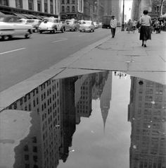 Chrysler reflection, 42nd Street near 5th Avenue, New York, c. 1953