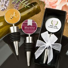 Trying to fit corks back into open wine bottles does not work! Give your guests a classy alternative with these fabulous wine stoppers from our Monogram Collection. Our classy stoppers are made of silver metal and feature a tight-seal black rubber casket wrapped around a conical [...]