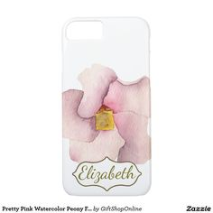 Pretty Pink Watercolor Peony Flower Personalized iPhone 7 Case