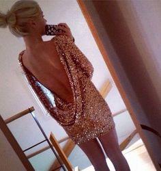 dress, pink, open back, sequin dress, party dress | Wheretoget.it
