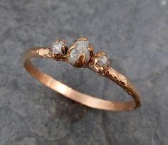 Dainty Diamond Engagement Stacking ring Wedding anniversary Rose Gold 14k Rustic