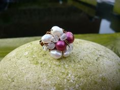 Ring. Ladies cluster ring with pearls and quartz. Womens size O statement ring. Cocktail ring. Accessories. Jewellery gifts. Pearl ring. by Twinkletoesjewellery on Etsy