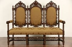 ~ Black Forest Carved Oak 1880's Antique Settee or Hall Bench, New Upholstery ~ ebay.com