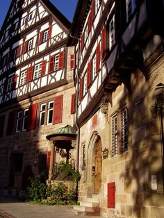 half-timbered houses in the old town of Esslingen, Baden-Württemberg, Germany