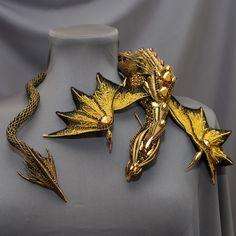 Beaded Jewelry, Handmade Jewelry, Beaded Necklace, Dragon Jewelry, Dragon Necklace, Gold Work, Beaded Animals, Wire Weaving, Loom Beading