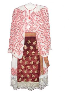 Folk costume from Banat hills region, velvet aprons, linen shirt and skirt, sewed with geometrical shapes and fillet lace.