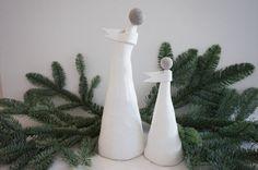 Items similar to Ceramic Christmas angel, hand-made white Christmas decorations, elegant angels, set of 2 on Etsy Christmas Angels, Christmas Presents, Christmas Home, White Christmas, Ceramic Christmas Decorations, Festive, Birthdays, Ceramics, Make It Yourself
