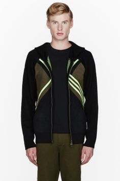 Y-3 Fluorescent green X knit hoodie