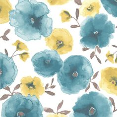 Sample Poppies Wallpaper in Teal design by Graham & Brown