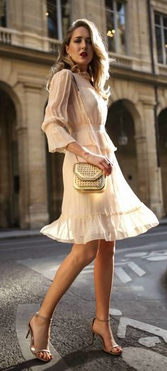 What to Wear to a Baptism // Light nude apricot ruffle flounce trim long sleeve short dress, tan metallic woven shoulder bag, nude strappy open toe sandal heels {See by Chloe, Stuart Weitzman, Stella McCartney, classic style, formal outfit, fancy}