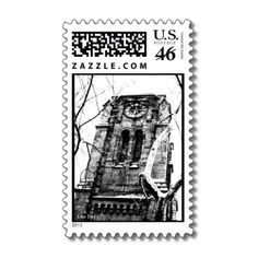 'THE BELL TOWER' POSTAGE, by The Flying Pig Gallery on Zazzle (lizadeyphoto) - A gothic bell tower rises up over the trees on this unique stamp. Perfect for Halloween or architecture, mystery or goth fans. Part of The Gothic Collection.