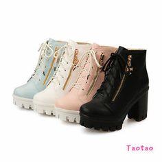 New-Women-Lace-Up-Zipper-Ankle-Boots-Platforms-High-Heels-Shoes-AU-All-Sz-R1157