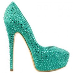 turquoise suede pumps covered with swaroski strass