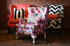 fun re-upholstered wingbacks