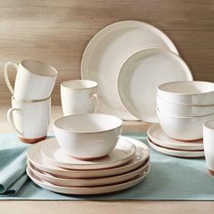 Better Homes and Gardens Claybrooke 16 Piece Dinnerware Set, Cream