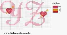 Heart alphabet 4 of 4 Crochet Alphabet, Crochet Letters, Cross Stitch Alphabet Patterns, Embroidery Alphabet, Cross Stitch Letters, Alphabet Crafts, Cross Stitch Heart, Cross Stitch Borders, Cross Stitch Samplers
