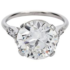1920s Cartier GIA Cert 4.41 Carat H/VS2 Round Diamond Engagement Ring  | From a unique collection of vintage engagement-rings at https://www.1stdibs.com/jewelry/rings/engagement-rings/