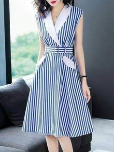 Buy Midi Dresses For Women from Misslook at StyleWe. Online Shopping Stylewe Lapel Blue Midi Dress A-line Date Dress Sleeveless Work Printed Striped Dress, The Best Work Midi Dresses. Discover unique designers fashion at . Midi Dress Work, Blue Midi Dress, Striped Dress, Midi Dresses, Spring Dresses, A Line Dress Work, Simple Dresses, Pretty Dresses, Casual Dresses