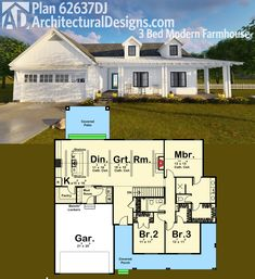 Architectural Designs 3 Bed Modern Farmhouse Plan 62637DJ. Almost 1,900 square feet of awesome. Ready when you are. Where do YOU want to build?  #farmhouse #houseplan #modernfarmhouse