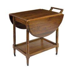 #Mueble auxiliar con #ruedas abatible #diseño de carrito de bebidas color marrón de #madera de #roble