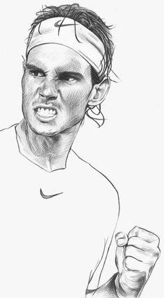 Tenis y Rafael Nadal Rafael Nadal, Roger Federer, Tennis Wallpaper, Sports Drawings, Art Drawings, Tennis Techniques, Nadal Tennis, Academy Logo, Human Sketch