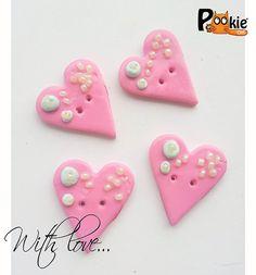 HEARTS themed set kawaii polymer clay BUTTONS   by PookieCatsWorld, $5.00