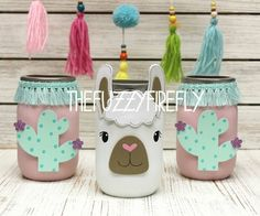 Original Cute Llama mason Jar CenterpieceLlama Party | Etsy