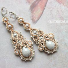 Soutache Earrings, Ring Earrings, Hair Reference, Beige, Handmade Jewelry, Jewelry Design, Brooch, Unique, Jewlery