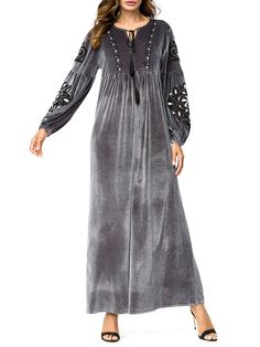 Muslim Chest Print Velvet Long Sleeve Long Dress Shopping Online - NewChic Mobile Source by khboutouil Dresses Niqab Fashion, Fashion Dresses, Cheap Maxi Dresses, Long Dresses, Dress Long, Color Combinations For Clothes, Silk Saree Blouse Designs, Caftan Dress, Dress P