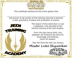 Star Wars The Force Awakens Jedi Training Academy Certificate, Degree, or Diploma Free Printable #StarWars #Party #Jedi