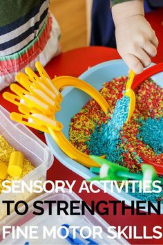 Sensory Play Activities! Sensory Activities If you're looking for sensory activities for toddlers, preschoolers, kindergarteners, or school-aged kids, you're in luck! Here's a list of sensory activities for kids with autism and special needs that help kids calm down, stimulate their senses, develop their social skills, language skills, fine motor skills, gross motor skills, and self-control skills! #autism #specialneeds #specialneedsparenting