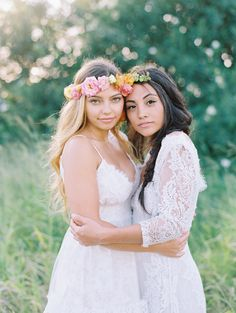 Get inspired by this gorgeously bohemian and colorful same-sex wedding inspiration shoot! Lesbian Wedding Photos, Lesbian Wedding Photography, Cute Lesbian Couples, Lgbt Wedding, Wedding 2015, Spring Wedding, Wedding Bride, Wedding Dresses, Wedding Venues