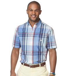 Chaps® Men's Short Sleeve Gordon Plaid Woven | Younkers