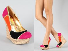 Liliana Caroline-10 Colorblock Round Toe Wedge