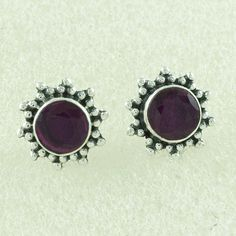RUBY AGATE STONE FASHION DESIGN 925 STERLING SILVER STUDS #SilvexImagesIndiaPvtLtd #Stud