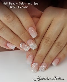 Salon Nails, Bridal nails, square Oval Shape, Babyboomer ombre French manicure style, gel painting lace with jewelry designs