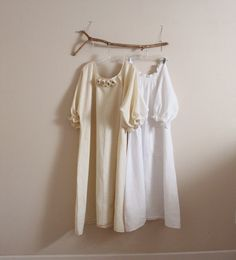 two linen shirring dresses  handmade to measure  by annyschooecoclothing